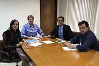 Na sede do SINDAÇÚCAR/PE, Renato Cunha, Presidente, e Marcelo Cavalcanti Guerra, Superintendente, recebem Caio  Cavalcanti Ramos e assessoria do BNDES, dia 28/junho/2018