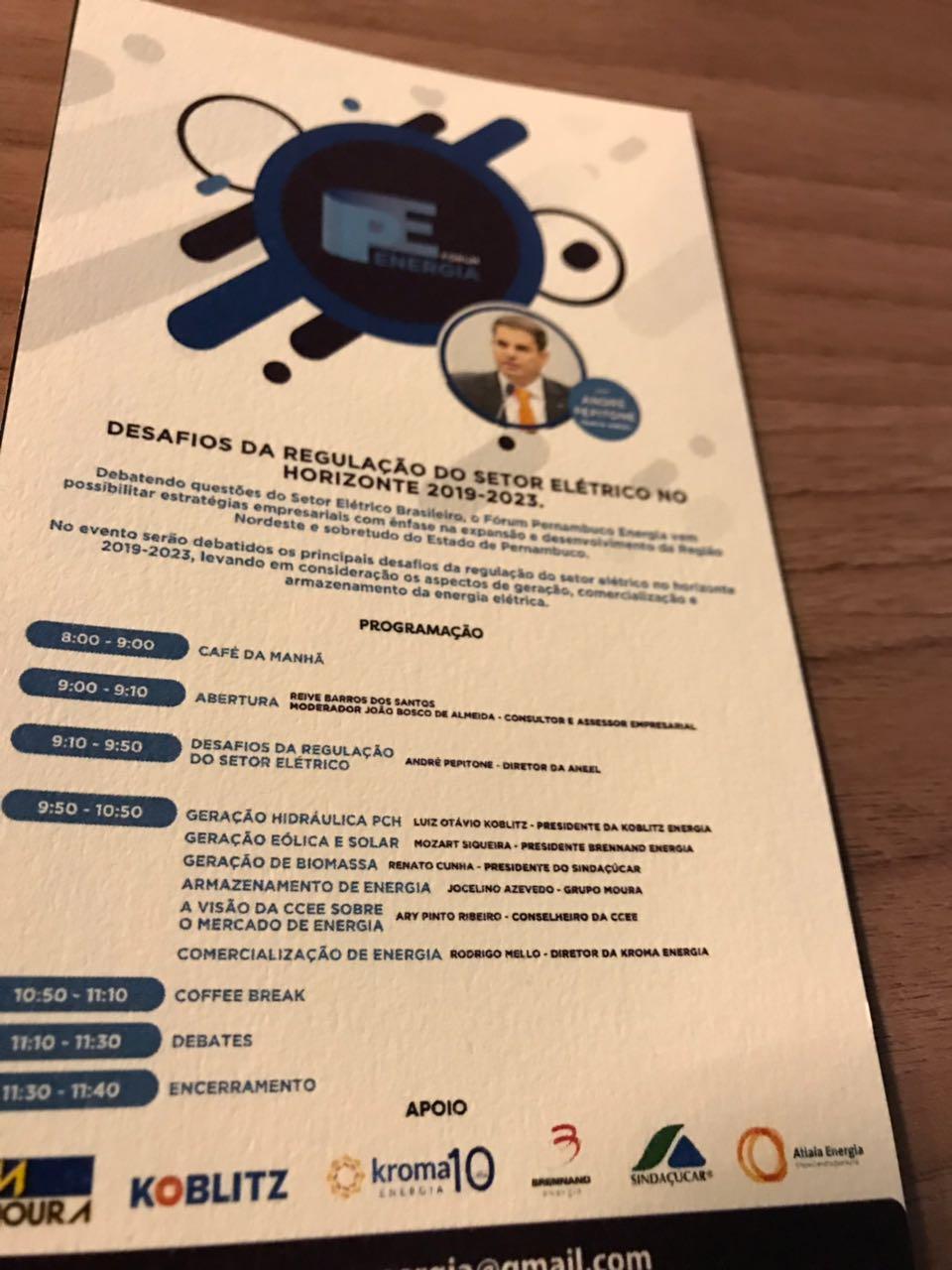 Renato Cunha, Presidente do SINDAÇÚCAR/PE, debatedor Fórum Desafios da Regulação do Setor Elétrico no Horizonte 2019-2023, com participação Diretor Aneel, André Pepitone, Presidente EPE, Reive,<br /> Presidente Chesf, Fábio, entre outros, Auditório Rio Mar Trade Center, dia 18/maio/2018