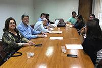 Mesa de negociação durante a Convenção Coletiva de Industriários na sede do SINDAÇÚCAR/PE, com o Presidente, Renato Cunha, Salmo Valentim e equipe do Sindicato dos Trabalhadores</br> na Indústria do Açúcar, dia 27/maio/2019