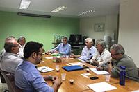 Na sede do SINDAÇÚCAR/PE, reunião com a Escola Técnica de Pernambuco para tratar sobre Mecanização Canavieira, com a presença da Usina Trapiche, dia 30/abril/2019