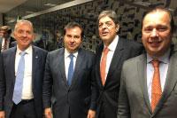 Na Câmara Federal em Brasília, o Presidente Rodrigo Maia recebe para agenda de trabalho, Renato Cunha, Presidente do SINDAÇÚCAR/PE, com outros representantes do setor sucroalcooleiro, dia 17/setembro/2019