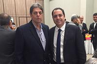 Governador de Pernambuco, Paulo Câmara e Rento Cunha, Presidente do SINDAÇÚCAR/PE, presentes em evento de inauguração do Conselho Estratégico da Revista Algomais, em 11/abril/2016