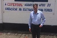 Renato Cunha, Presidente do SINDAÇÚCAR/PE, na Usina Pedroza fundada em 1891, pertencente ao Grupo Farias e arrendada a COPERSUL de Gerson Carneiro Leão e Reginaldo Morais